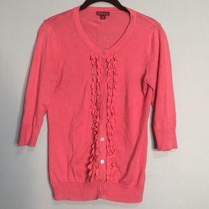 Merona Small Pink Ruffle Button front cardigan
